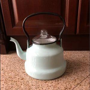 Vintage Inspired Light Blue Enameled Tea Kettle